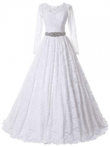 SOLOVEDRESS Women's Ball Gown Lace Princess Wedding Dress 2017 Sash Beaded Bridal Evening Gown