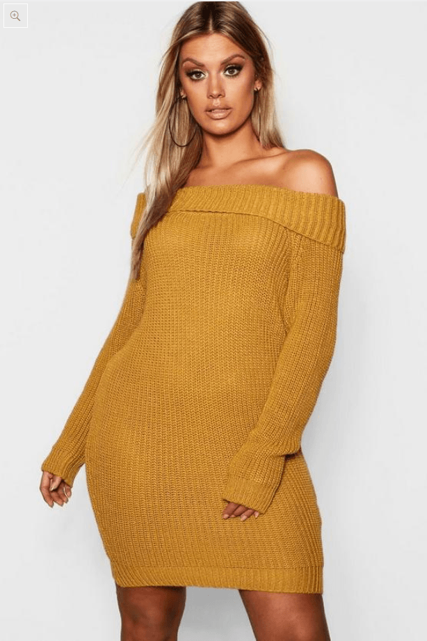 Off The Shoulder Knitted Dress