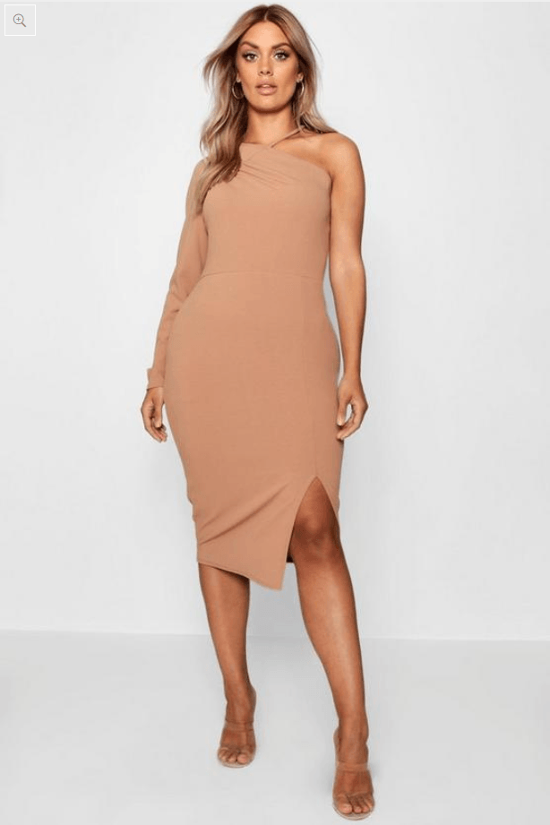 Split Front Asymmetric Midi Dress