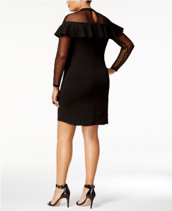 Plus Size Illusion Ruffled Bodycon Dress