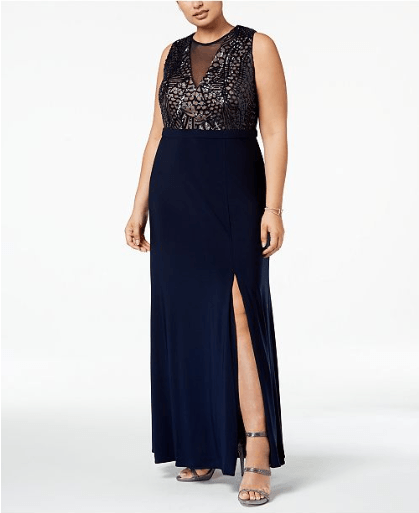 cf283eea145ec ... Womens Suits - Macy s Plus Size Sequined Illusion Gown Tmdress Dress ...