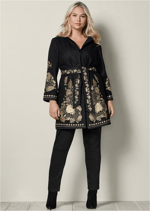 Belted Embroidered Coat in Black VENUS