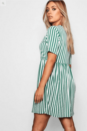 Plus Striped Smock Dress