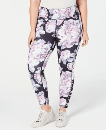 Plus Size Printed Cutout Ankle Leggings, Created for Macy's