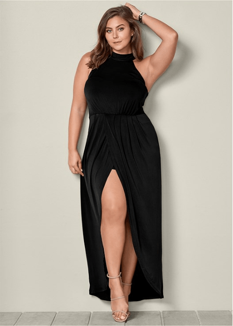 PLUS SIZE LONG DRAPE DRESS