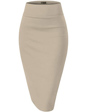 H C Womens Premium Nylon Ponte Stretch Office Pencil Skirt Made in USA at Amazon Women's Clothing sto[...]