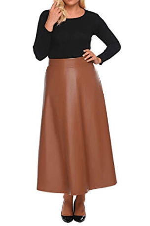 Involand Womens Plus Size High Waist Flared A Line Swing Maxi Leather Skirt for Party Casual at Amazo[...]