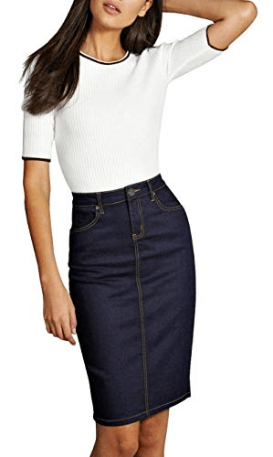 Lexi Womens Super Comfy Perfect Fit Stretch Denim Skirt at Amazon Women's Clothing store