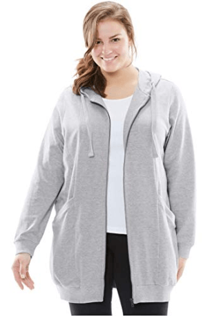 Woman Within Plus Size Zip Front Tunic Hoodie at Amazon Women's Clothing store