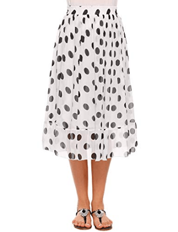 Women's Chiffon Polka Dot Print Flared A-Line Skirt High Elastic Waist Ruffle Hem Midi Skirts at Amaz[...]