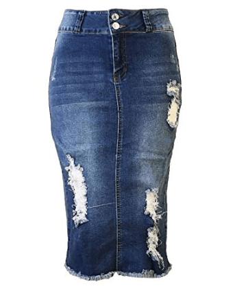 37fe863d77 Womens Junior Plus Size Below Knee Length Midi Pencil Ripped Denim Skirt at Amazon  Women's Clothing