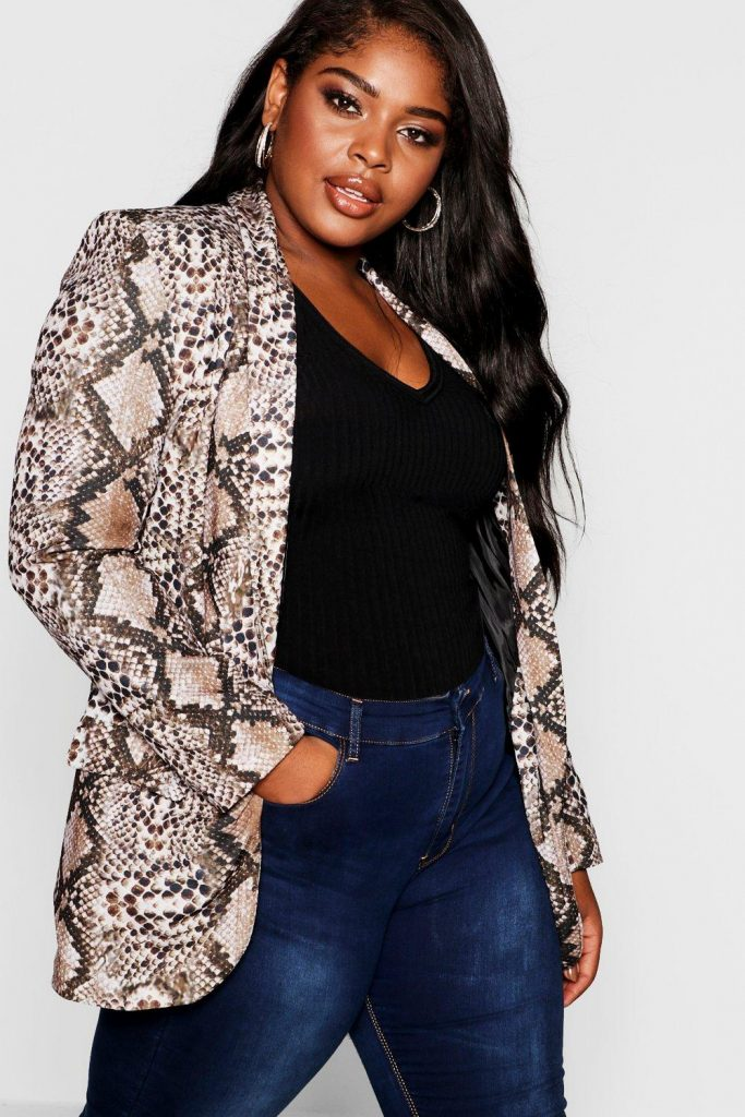 Plus Snakeskin Tailored Blazer