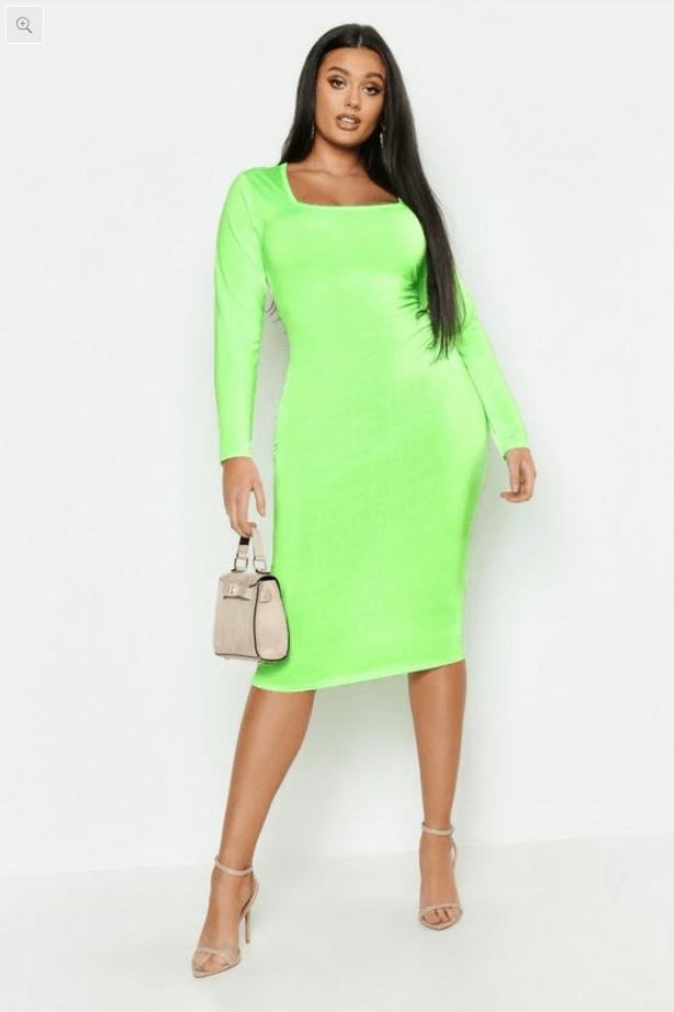 Plus Neon Slinky Sqaure Neck Sleeved Midi Dress Boohoo