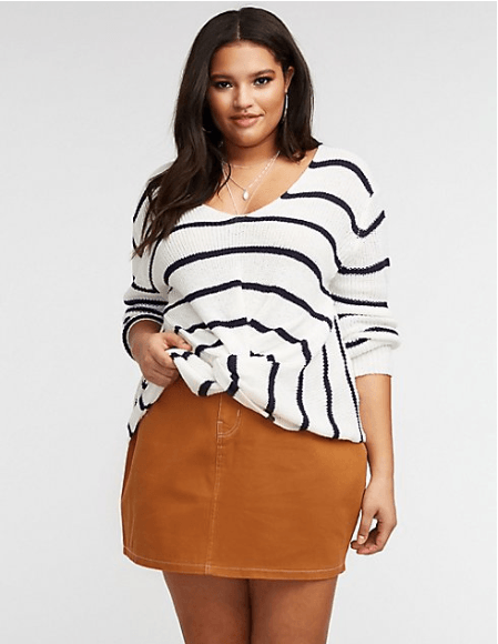 Plus Size Front Twist V Neck Pullover Sweater Charlotte Russe