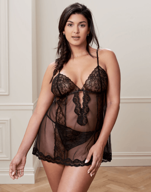 Black Babydoll Set Alicia Adore Me