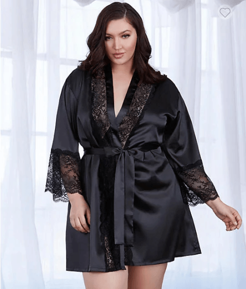 Dreamgirl Plus Size Satin And Lace Robe Bare Necessities (11497X)