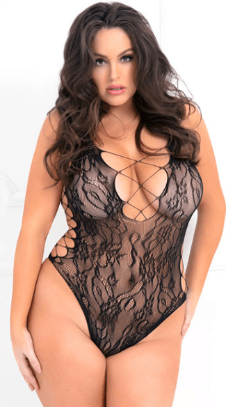 Plus Size Laced Up Sexy Bodysuit, plus size lace bodysuit - Yandy com