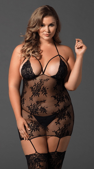 Plus Size Mesh and Lace Cage Suspender Bodystocking, Plus Size Lace Bodystocking, Plus Size Lace Susp[...]