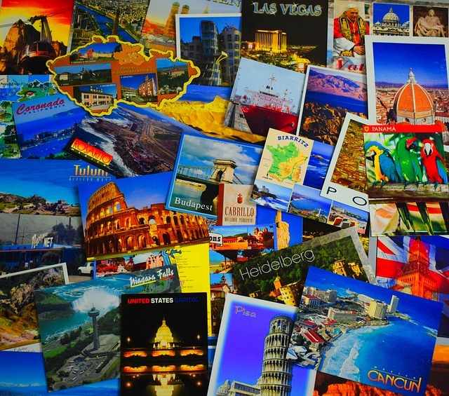 postcard, collage, travel