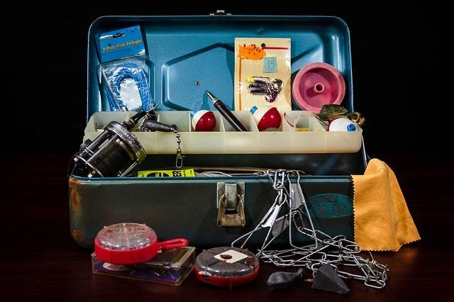 tackle box, fishing supplies, fishing gear