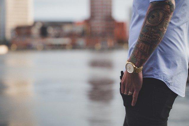 fashion, tattoos, man